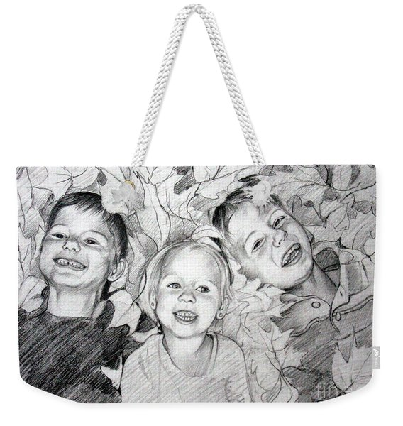 Children Playing In The Fallen Leaves Weekender Tote Bag