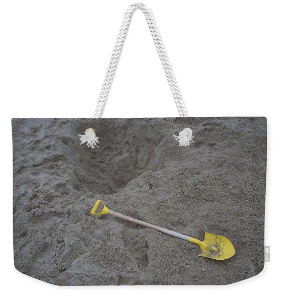 Childs Shovel And Hole In The Sandy Weekender Tote Bag