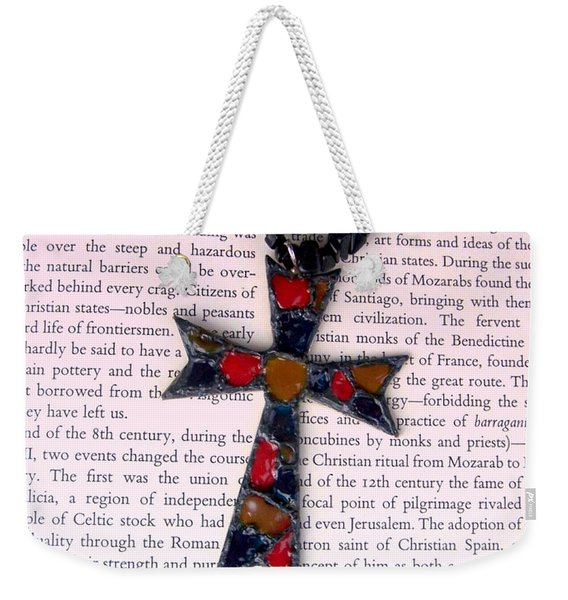 Weekender Tote Bag featuring the jewelry Christian  Cross by Cynthia Amaral