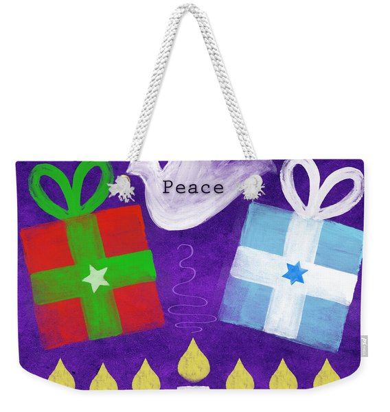 Christmas And Hanukkah Peace Weekender Tote Bag