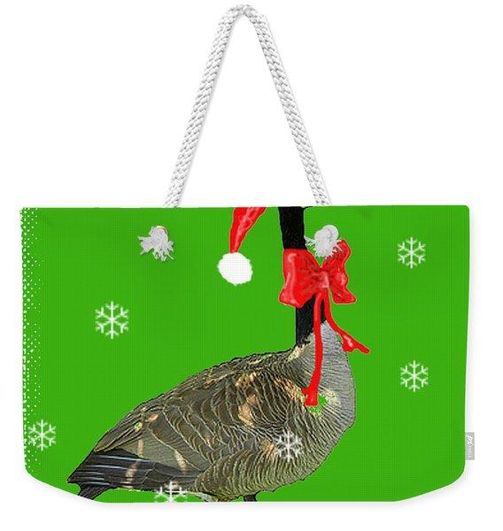 Christmas Goose Weekender Tote Bag