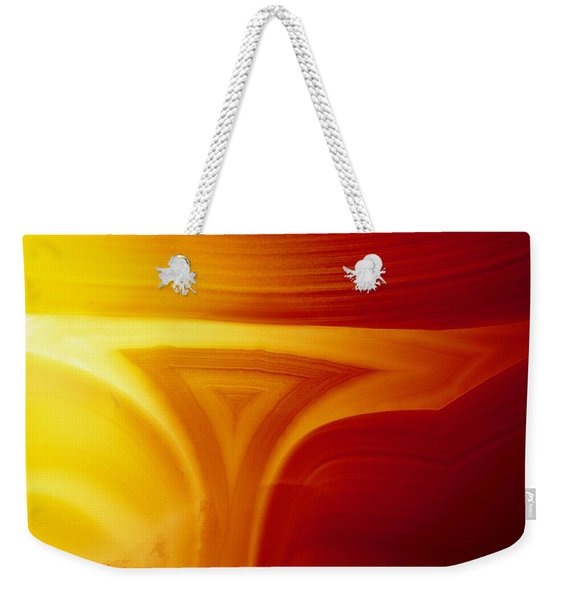 Close View Of Red Agate With Lighting Weekender Tote Bag