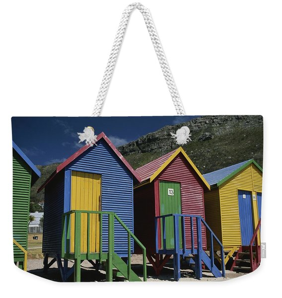 Colorful Changing Huts Line A South Weekender Tote Bag