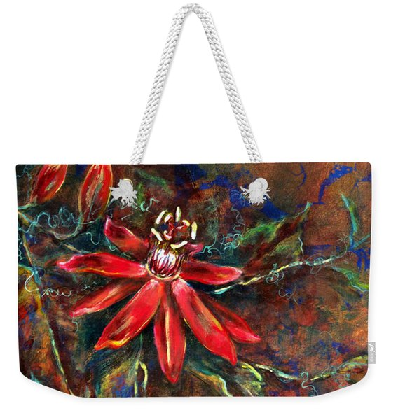 Weekender Tote Bag featuring the painting Copper Passions by Ashley Kujan