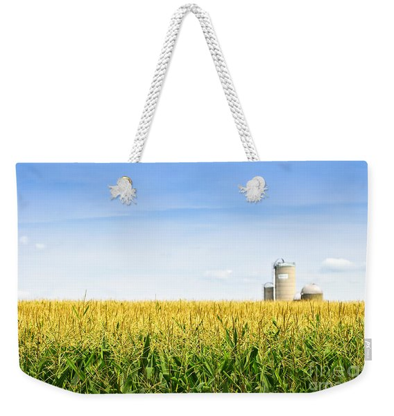 Corn Field With Silos Weekender Tote Bag