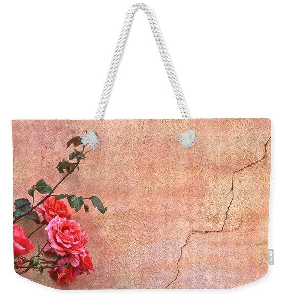 Cracked Wall And Rose Weekender Tote Bag