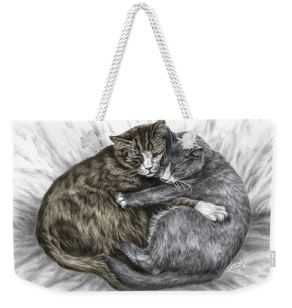 Cuddly Cats - Color Tinted Art Print Weekender Tote Bag