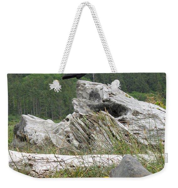Dandelion Crow - On Oregon Coast Driftwood  Weekender Tote Bag