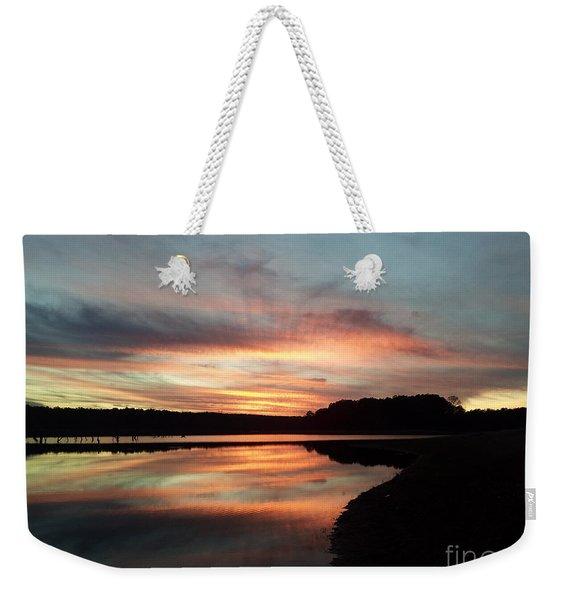 December Sunset At Lake Juliette Weekender Tote Bag