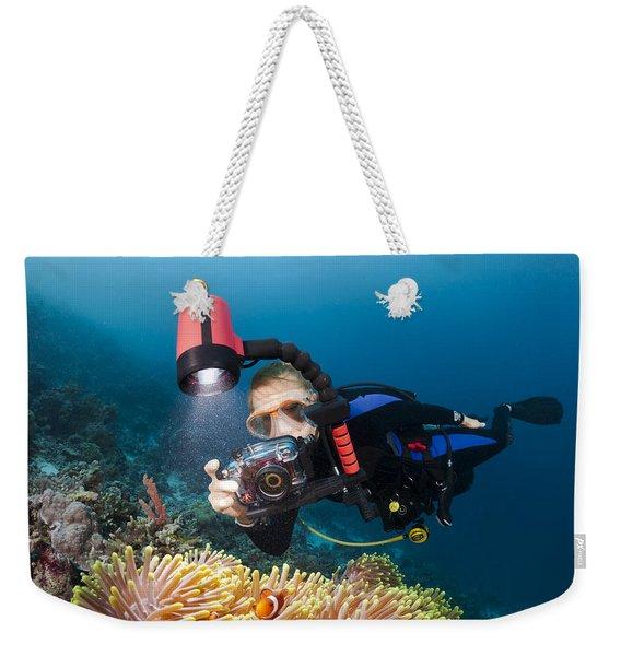 Diver And Anenome Fish Weekender Tote Bag