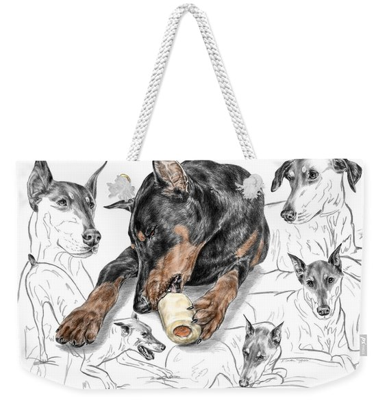 Dober-thoughts - Doberman Pinscher Montage Print Color Tinted Weekender Tote Bag