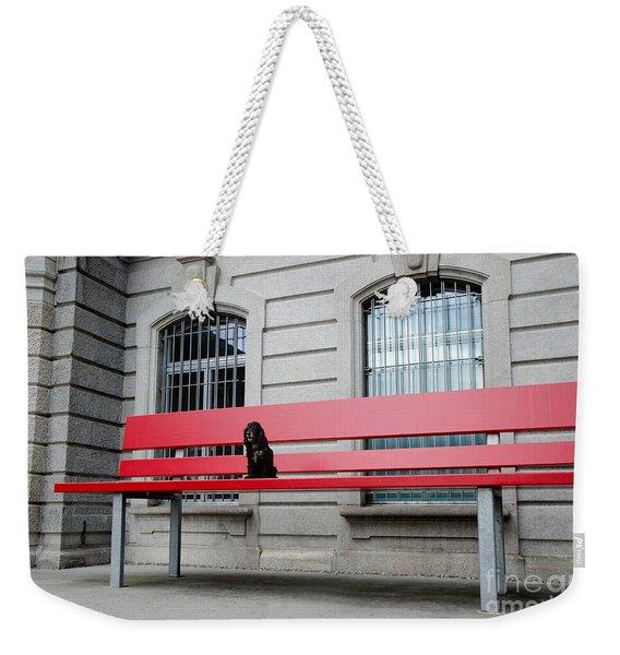 Dog On A Big Red Bench Weekender Tote Bag
