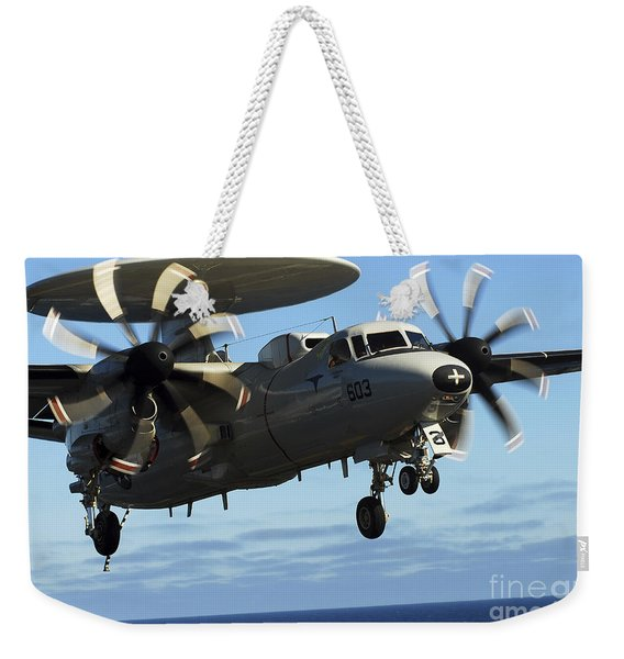 E-2c Hawkeye Approaches The Flight Deck Weekender Tote Bag
