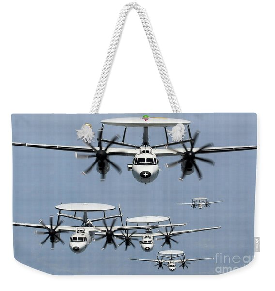 E-2c Hawkeyes Perform A Formation Weekender Tote Bag