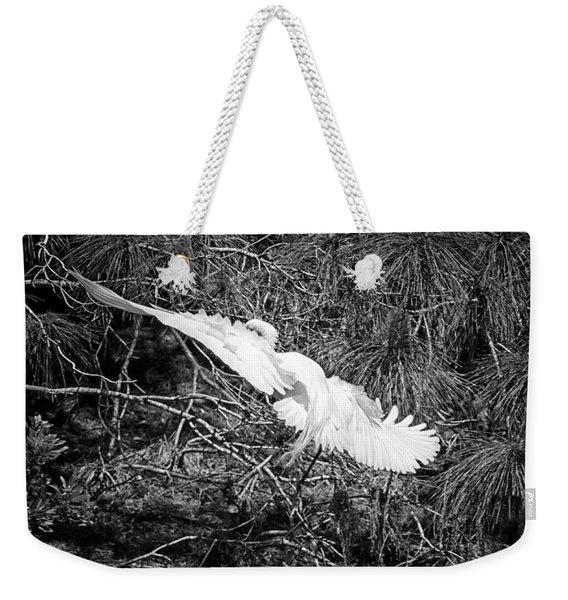 Egret On Approach Weekender Tote Bag
