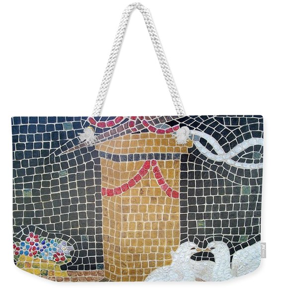 Weekender Tote Bag featuring the painting Emblems Of Love by Cynthia Amaral