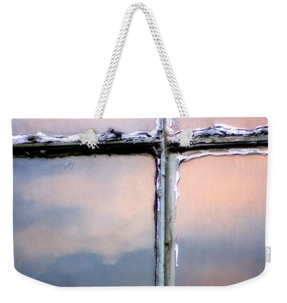 Empty Cross On The Window Of An Old Church Weekender Tote Bag