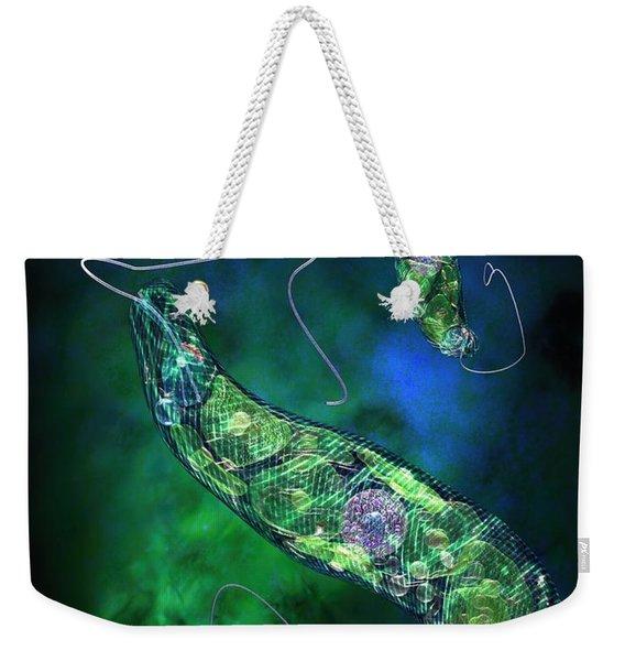 Euglena Blue Weekender Tote Bag