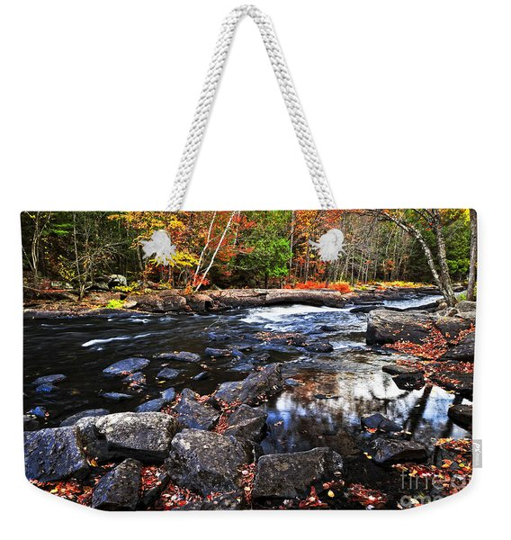 Fall Forest And River Landscape Weekender Tote Bag