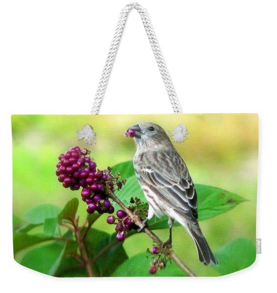 Finch Eating Beautyberry Weekender Tote Bag