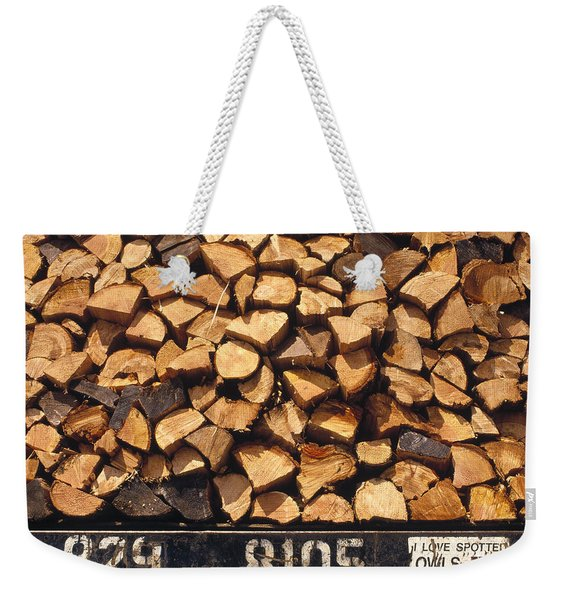 Firewood Hauled From Clearcut On Truck Weekender Tote Bag