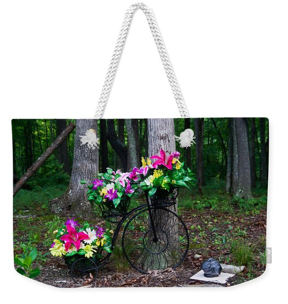Floral Bicycle On A Cloudy Day Weekender Tote Bag