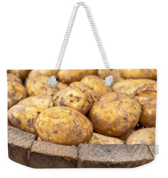 Freshly Harvested Potatoes In A Wooden Bucket Weekender Tote Bag