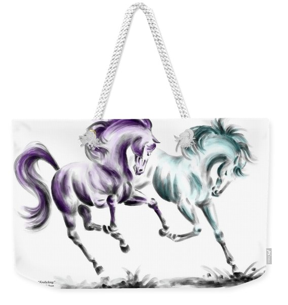 Frolicking - Wild Horses Print Color Tinted Weekender Tote Bag