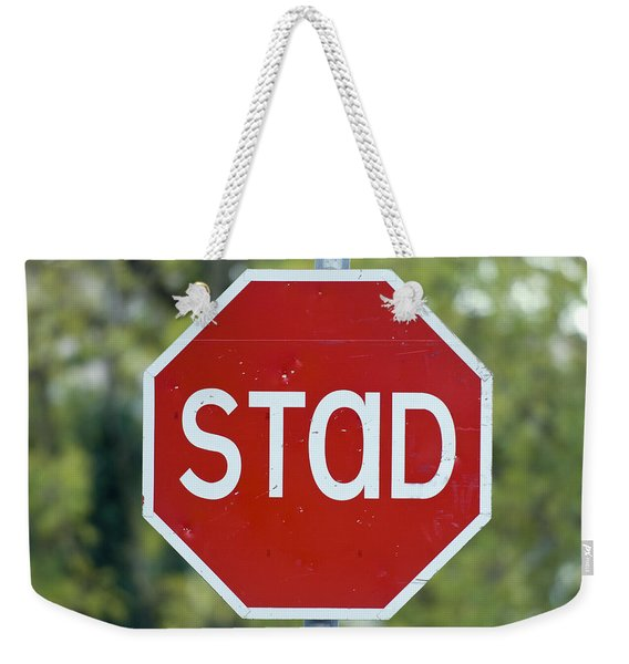 Gaelic Stop Sign Near Doocharry Weekender Tote Bag
