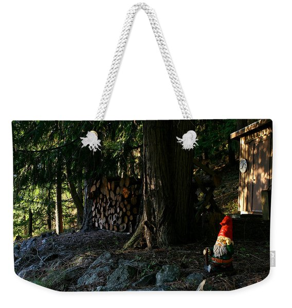 Gnome And The Woodpile Weekender Tote Bag