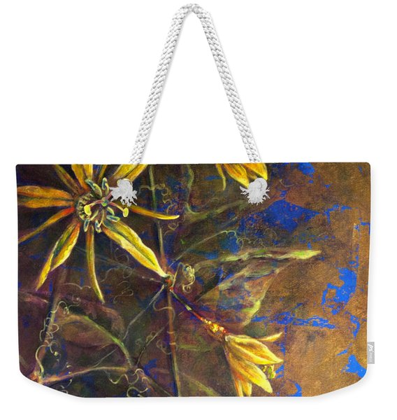 Weekender Tote Bag featuring the painting Gold Passions by Ashley Kujan