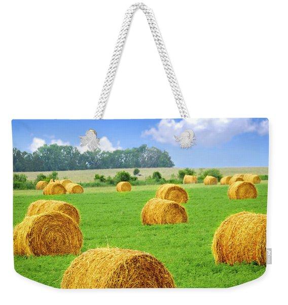 Golden Hay Bales In Green Field Weekender Tote Bag