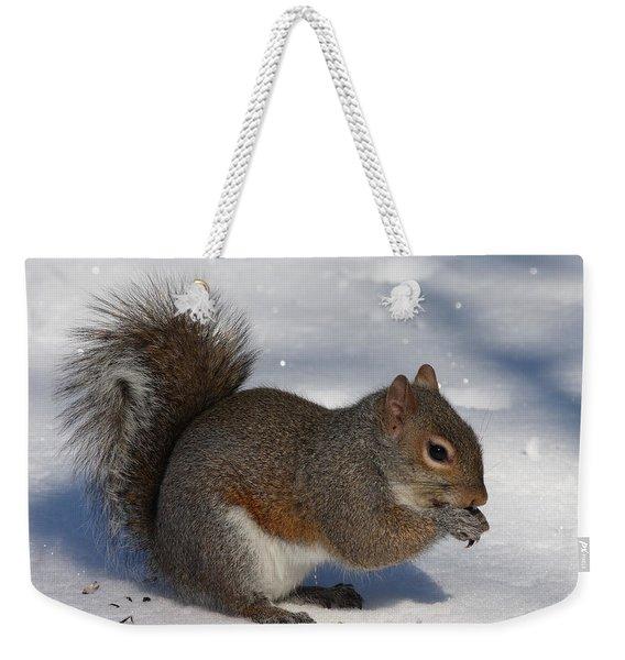Gray Squirrel On Snow Weekender Tote Bag