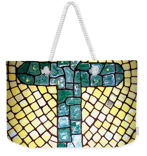 Weekender Tote Bag featuring the painting Green Cross by Cynthia Amaral