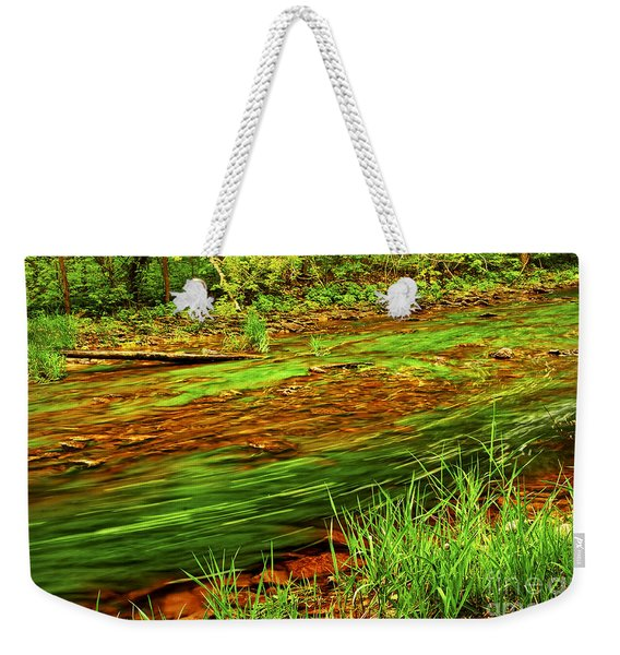 Green Forest River Weekender Tote Bag