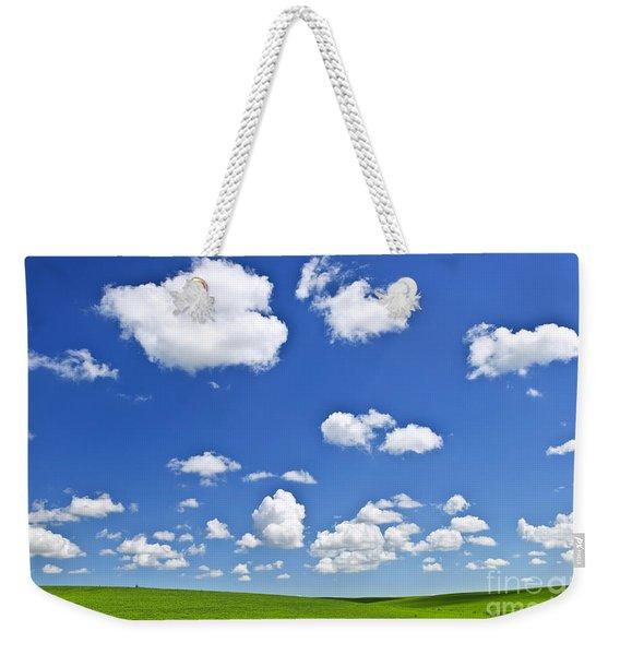 Green Rolling Hills Under Blue Sky Weekender Tote Bag