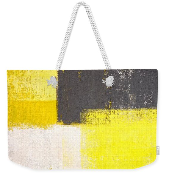 Simply Modern - Grey And Yellow Abstract Art Painting Weekender Tote Bag