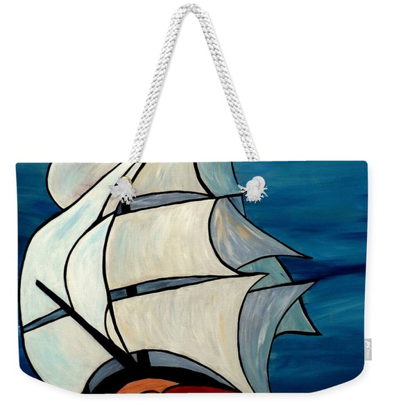 Weekender Tote Bag featuring the painting High Sea by Cynthia Amaral