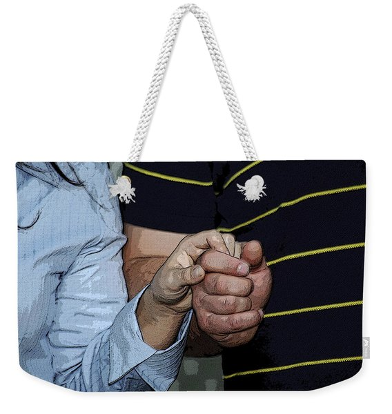 Weekender Tote Bag featuring the photograph Holding Hands by Carolyn Marshall