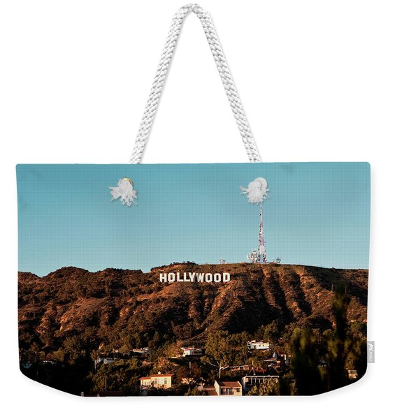 Weekender Tote Bag featuring the photograph Hollywood Sign At Sunset by Lorraine Devon Wilke