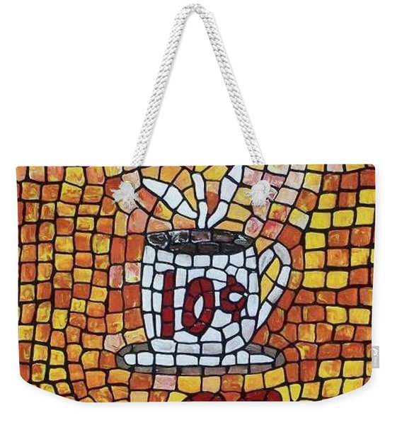 Weekender Tote Bag featuring the painting Hot Coffee 10cents by Cynthia Amaral