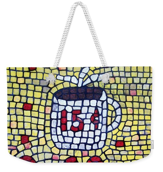 Weekender Tote Bag featuring the painting Hot Coffee by Cynthia Amaral