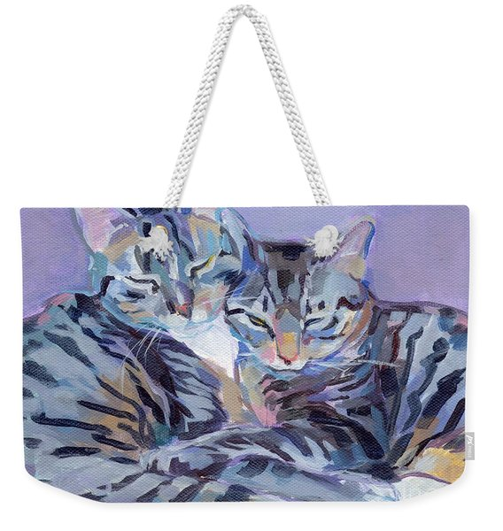 Hugs Purrs And Stripes Weekender Tote Bag