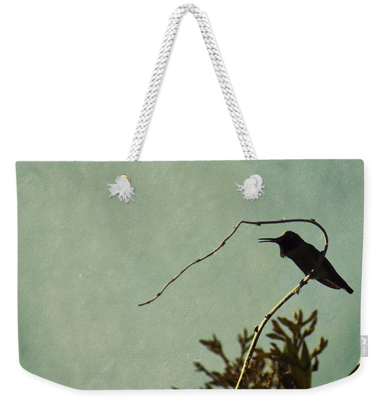 Hummingbird On Winter Wisteria Weekender Tote Bag