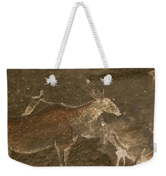 Hunters And Animals In A Cave Painting Weekender Tote Bag