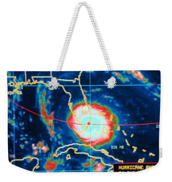 Hurricane Andrew, Infrared Image, 1992 Weekender Tote Bag