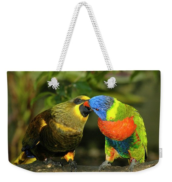 Weekender Tote Bag featuring the photograph Kissing Birds by Carolyn Marshall