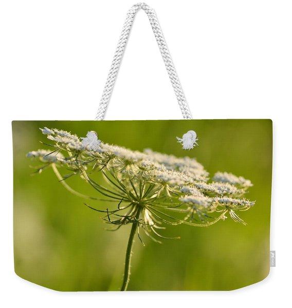 Lacy White Flower Weekender Tote Bag