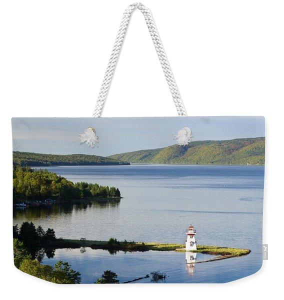Lighthouse On Boulardarie Island Weekender Tote Bag