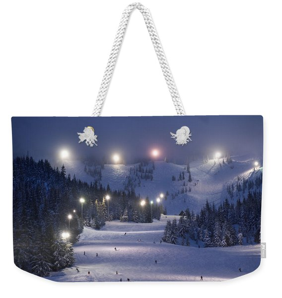 Lighting Over The Mt. Hood Skibowl Weekender Tote Bag